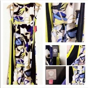 Vince Camuto High Low Color Block Sleeveless Dress